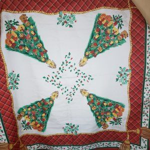 """Accessories - Vtg Italy Christmas Tree Scarf 30"""" x 30"""""""
